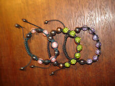 LOT de 3 Bracelets SHAMBALLA : Violet, Vert Anis et Rose & Noir - Bon Etat -