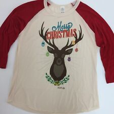 Merry Christmas T Shirt Med. wome's Mediano Deer Gradits Red And Cream