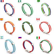 Boys Girls Faux Leather Bracelet National Flag Wristband Fashion Jewelry Gift