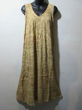 Dress Fits 1X 2X 3X Plus Sundress Tan Tie Dye A Shaped Cotton V Neck NWT G325