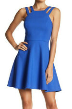 French Connection Blue High Neck Double Strap Skater Party Dress 0