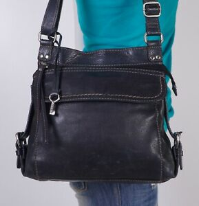 FOSSIL Medium  Black  Leather Crossbody Shoulder Hobo Tote Satchel Purse Bag