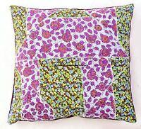 Indien Floral Multicolore Kantha Patchwork Coussin Housse Décor Canapé Coton Lit