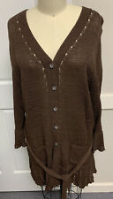 Nwt Women's Croft & Barrow Brown Long Button Tie Cardigan Sweater Size L Large