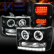 07-14 GMC Sierra Dual Halo Projector Headlights+Glossy Black LED Tail Lamps