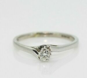 9ct White Gold 0.15ct Diamond Solitaire Ring Size O, US 7