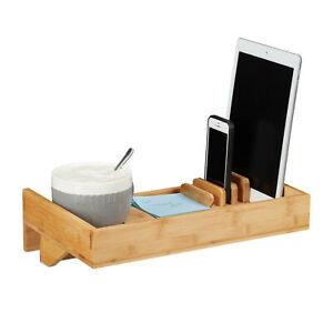 Bettablage Bambus klemmbar Nachttischregal Bett Organizer Getränkehalter Tisch