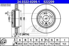 2x ATE Bremsscheibe Bremsscheiben Satz Bremsen PowerDisc Hinten 24.0322-0209.1