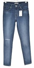 Levis 721 HIGH RISE SKINNY Dark Blue RIPPED Stretch Jeans Size 12 W30 L32