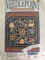 Vntg Bernat Needlepoint Kit 14x14 Crewel Wool Pillow Floral Black Secret Garden
