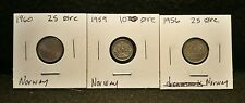 Lot of 3 Norway 25 Ore Coins, See Picture for Exact Coins you are purchasing. #1