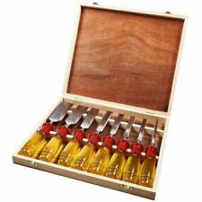 8Pcs CHISEL SET Wood Carving Work Tools WOODEN BOX Chisels Carpenter E0610 UK