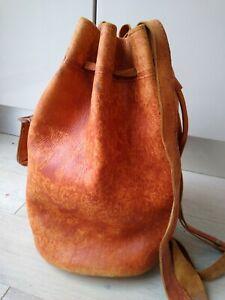 Large Tan Moroccan leather duffle bag, luggage, tote bag