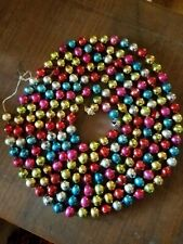 "vintage mercury glass garland large bead multi color 83"""
