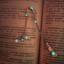 Vintage Luminous Bookmark Star Pendant Glow In The Dark Office Stationery Gift