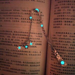 Vintage Luminous Bookmark Starmoon Pendant Glow In The Dark Student Office Gifts