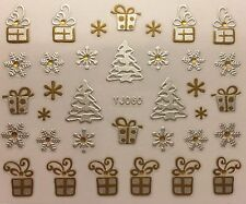 Nail Art 3D Decal Stickers Christmas Tree Presents Snowflakes YJ060