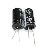 2 Piezas 220uF 200V 105C Condensadores Electrol/íticos Radiales Negro 27x18mm