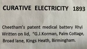 Antique Vintage Curative Electricity 1893. Cheetham's Medical Battery
