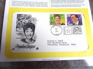 US First Day Cover Popular Singers Ethel Merman Al Jolson 1994 Stamps