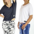 Women Ladies Black White Tops Summer Casual Loose Front Tie Top One Size 8 10