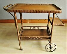 Antique Wicker Rattan Wheeled Display Drinks Serving Trolley. Early 20th Century