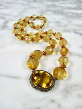 VICTORIAN FACETED CITRINE LARGE ROUND BEAD STERLING SILVER NECKLACE 268 CARATS!