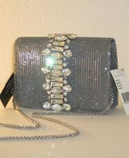 Adrianna Papell Mesh Pewter Lancelot Sandi Clutch Chain Bag with Large Stone $89