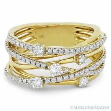 Loop Wrap Ring in 14k Yellow Gold 0.78 ct Round Cut Diamond Right-Hand Overlap