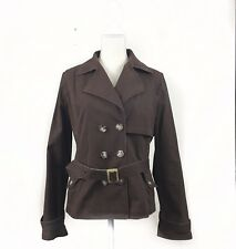 Apt 9 Womens Jacket Large Brown Double Breasted Pockets Long Sleeves Belted