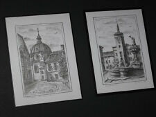 "(2) 3 1/2"" x 4 1/2"" Miniature Framed Pictures Buildings Europe and Fountain"