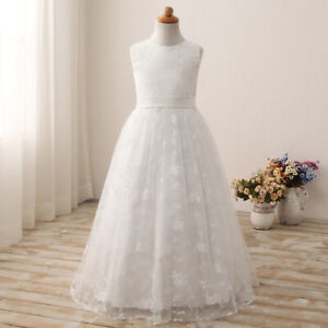 NEW UK Lace Wedding Flower Girl Holy Communion Party Prom Princess Pageant Dress