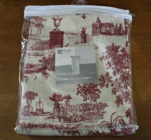 """40x95"""" Tab Top Panel Curtain Angelique Toile Brick Red JC Penney Home Collection"""