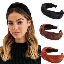 Women Lady Pleated Tie Headband Hairband Wide Twist Hair Band Hoop Accessories