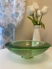 fire and light recycled glass Green Wide Rim Bowl. Very Heavy!!