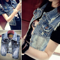 HK- Women's Fashion Casual Jeans Vest Short Style Denim Waistcoat Outerwear Spir