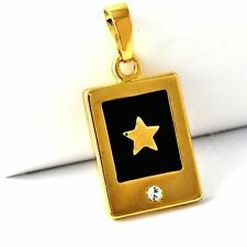 mens star Crystal stone pendant black yellow Gold plated free shipping