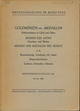 HN Dr. BUSSO PEUS Frankfurt Katalog 261 1960 Goldmunzen und medaillen