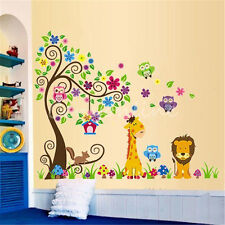 Removable Vinyl Wall Sticker Cute Lion Tree Giraffe Owl Kids Nursery Home Decor