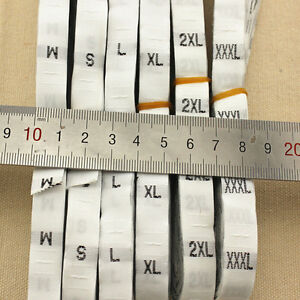 500 White Black Woven Clothing Garment Size Labels Tags Sweing S M L XL 3*NS