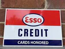 ESSO Gasoline CREDIT CARDS HONORED metal sign baked Oil Gas