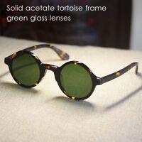 Retro 1960's John Lennon round sunglasses johnny depp tortoise green glass lens