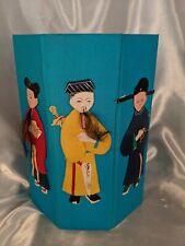 Vintage Asian Figural Blue Waste Paper Basket Foldable Trash Can Paper Figures