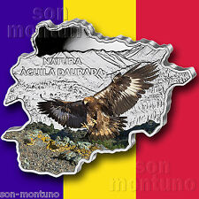 GOLDEN EAGLE - 2013 Andorra - MAP SHAPED Colorized .999 SILVER COIN in Box & COA