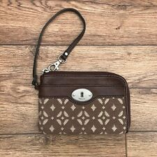 FOSSIL MADDOX WRISTLET SIGNATURE FABRIC & BROWN LEATHER ZIPPED PURSE TINY BAG
