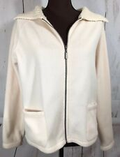 Mountain Lake Ivory Winter White Cable Knit Collar Fleece Jacket Size Small