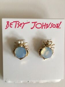 New Betsey Johnson earrings Bugs pearl gold stud Light Blue stone