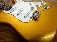 NEW 6 STRING METALLIC GOLD SOLID BODY STRAT STYLE TREMOLO ELECTRIC GUITAR