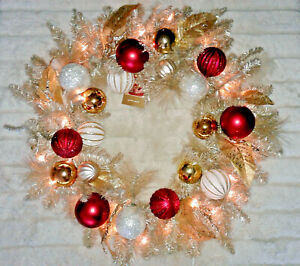 NEW! PAIR PIER 1 ONE IMPORTS PRE-LIT CHAMPAGNE GOLD RED WHITE CHRISTMAS WREATHS