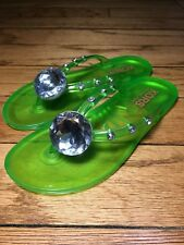 Kors Michael Kors Jewel Accented Jelly Slip-On Thong Sandals sz 13 Lime Green